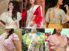 ruffle sleeves blouse designs for sarees and lehengas