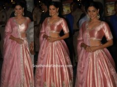 saiyami kher pink lehenga at bachchan diwali party