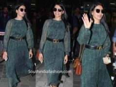samantha akkienni dress at hyderabad airport