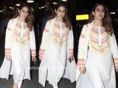 sara ali khan in white salwar kameez at airport