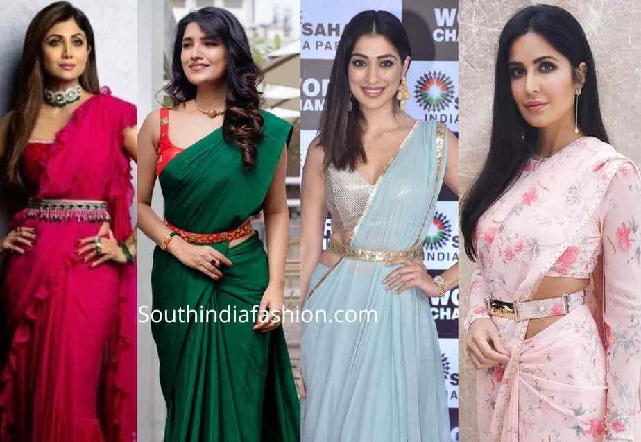 saree with belt