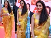shilpa reddy in yellow saree at anr national awards 2019