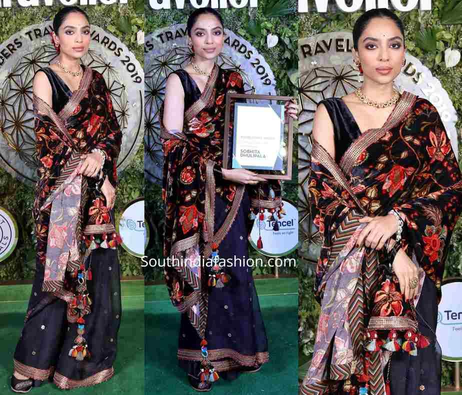 shobita dhulipala black saree at conde nast traveller awards