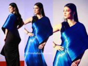 shruti haasan blue metallic saree