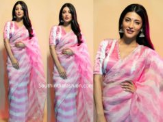 shruti haasan pink and white saree