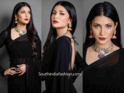 shruti haasan plain black saree with silver jewellery
