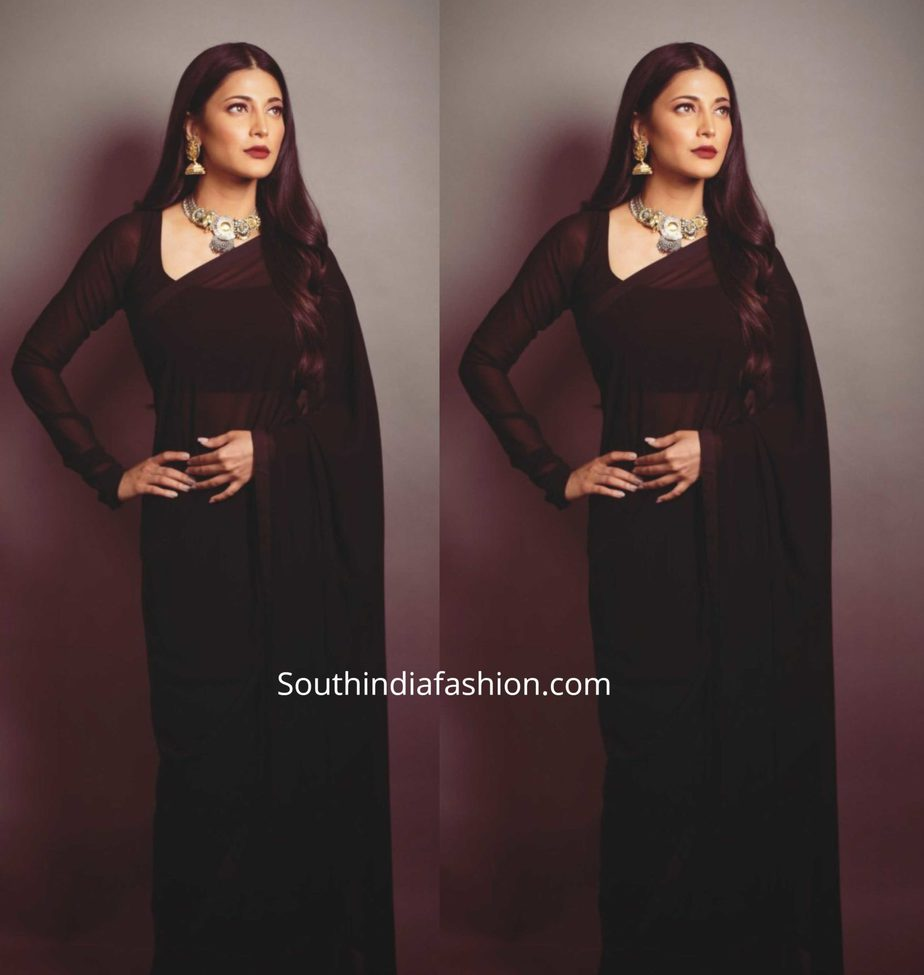 shruti haasan plain black saree full sleeves blouse (1)