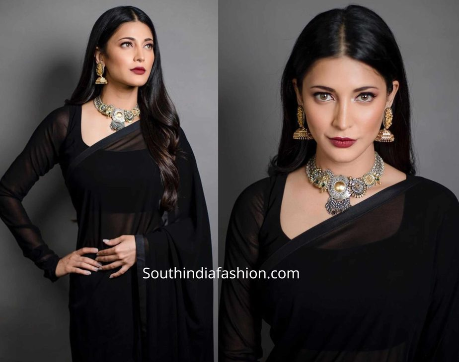 shruti haasan plain black saree with silver jewellery