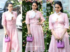 kangana ranaut pink dress and purple bag