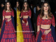 sophie choudry red and blue manish malhotra lehenga at bachchan diwali party