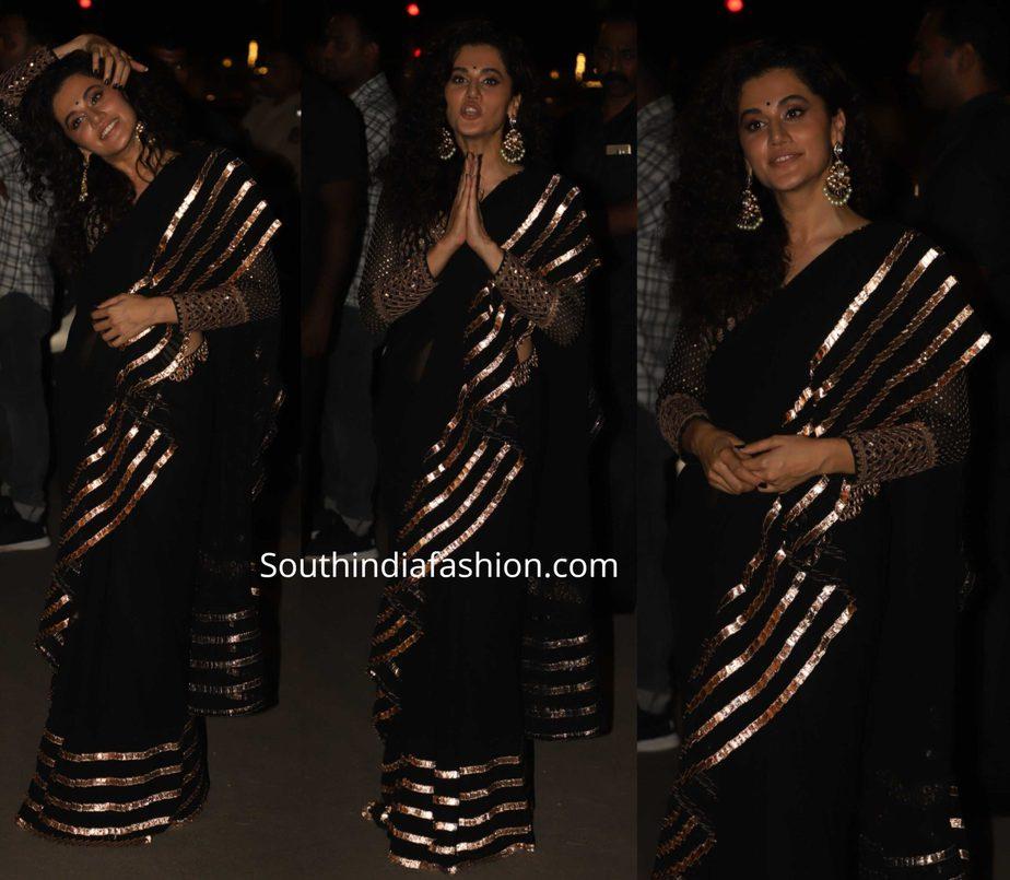 taapsee pannu in black saree at diwali party