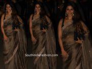 tanisha mukerji organza saree at diwali party 2019