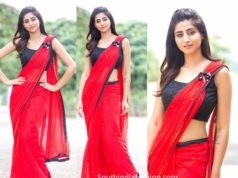 varshini sounderajan in red saree