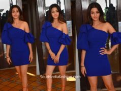 vedhika blue dress at body movie promotions