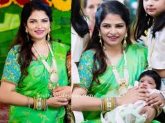 viranica manchu green silk saree at a wedding (3)