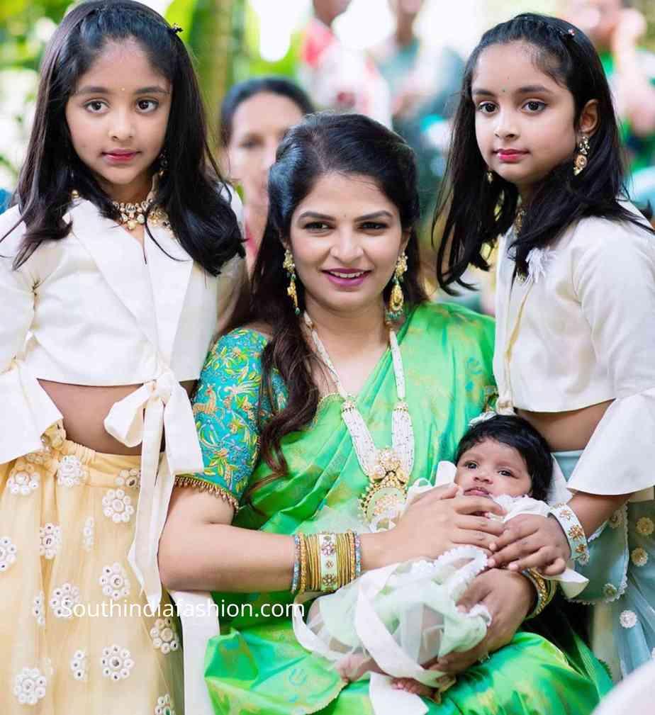 viranica manchu green silk saree at a wedding (3)