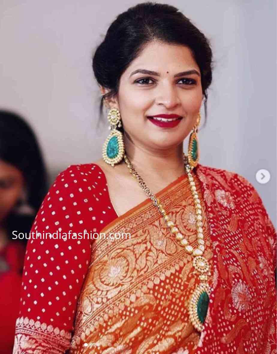 viranica manchu red saree at a wedding (1)