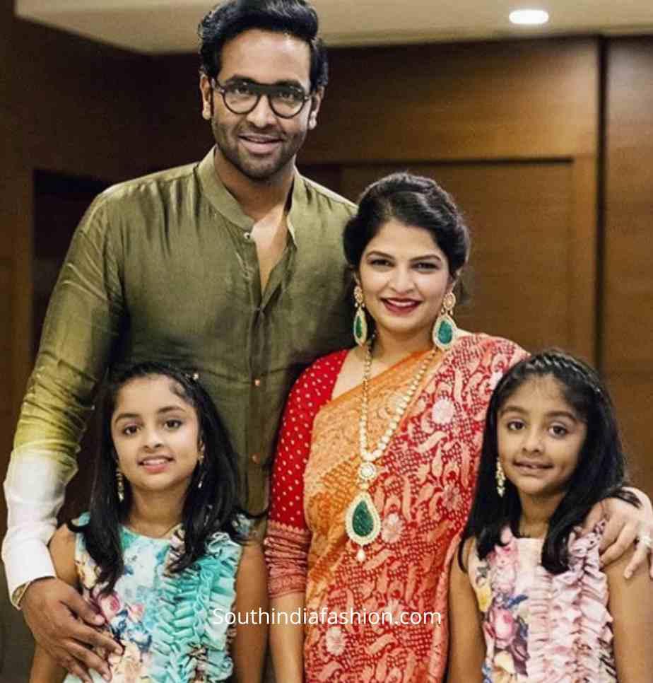 viranica manchu red saree at a wedding (2)