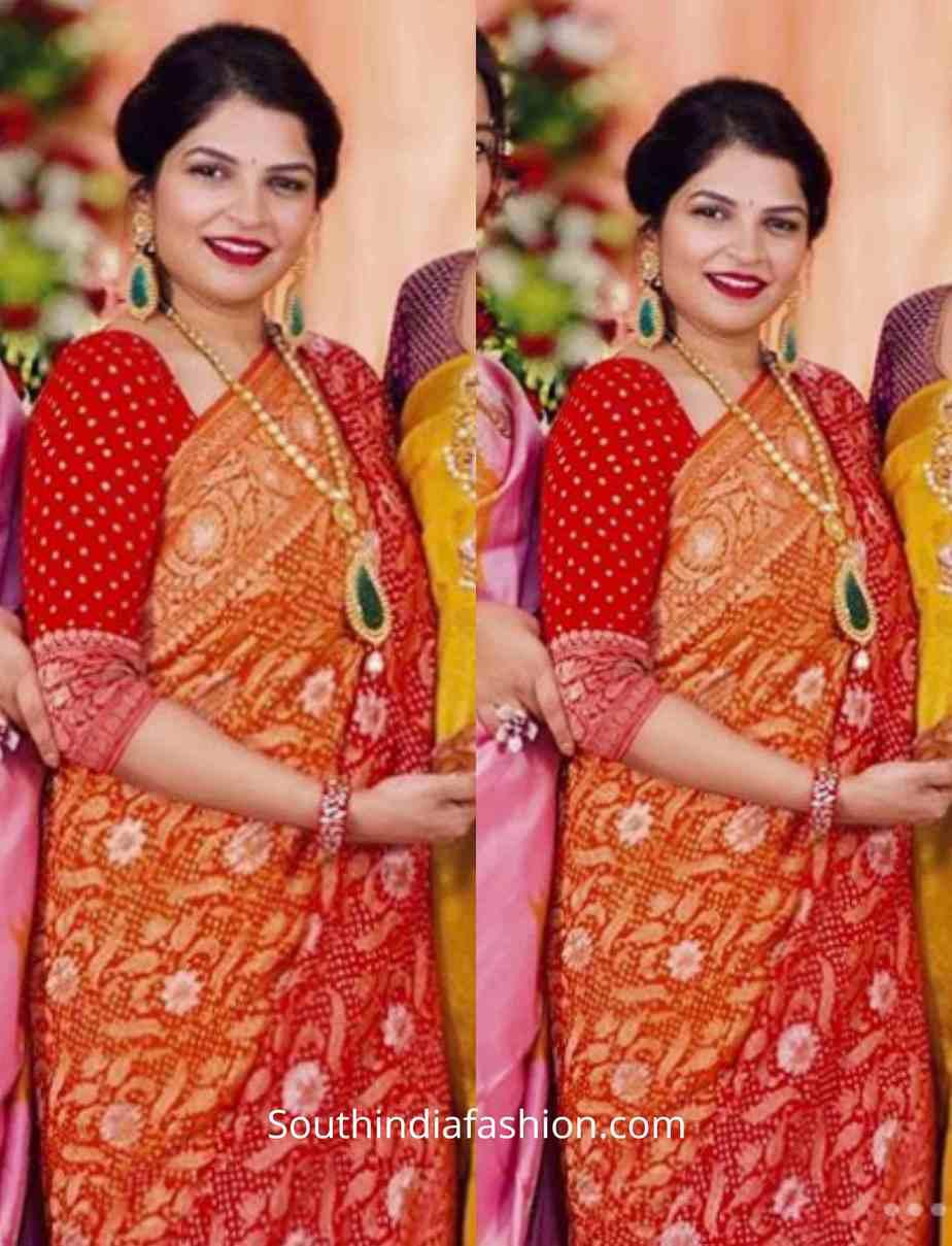 viranica manchu red saree at a wedding (3)