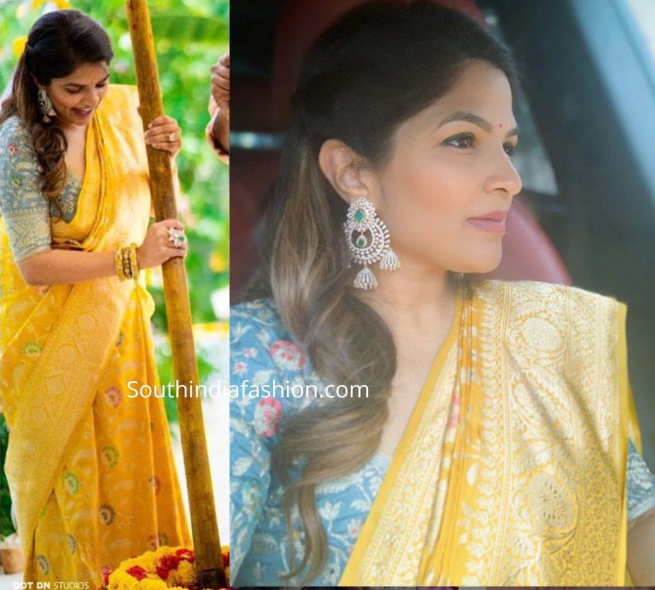 viranica manchu yellow banarasi silk saree at a wedding