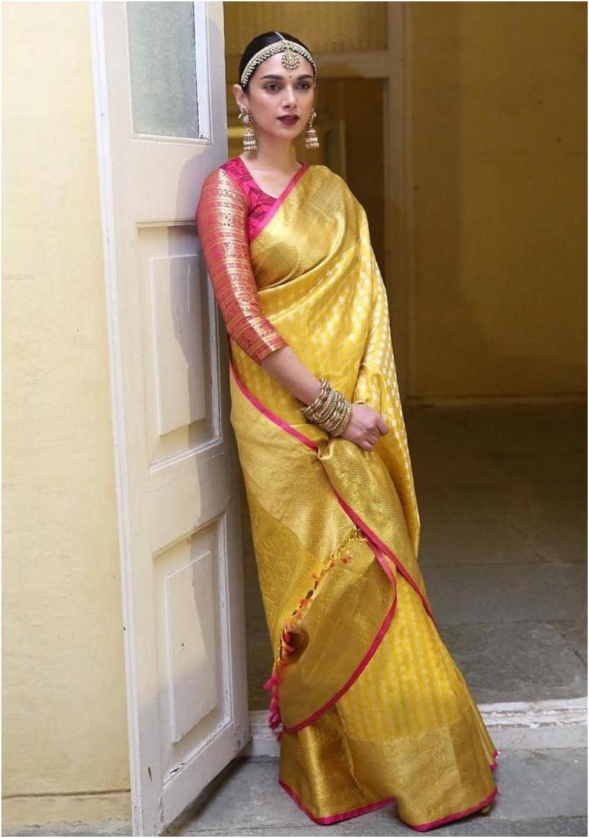 Aditi Rao Hydari in yellow kanjeevaram saree