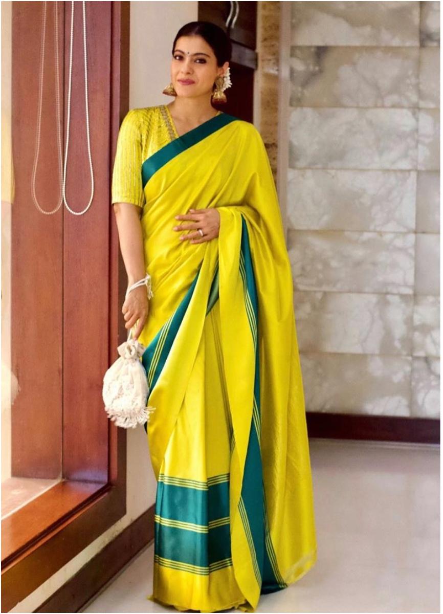 Kajol Durga Pooja 2019 Silk saree by Raw Mango