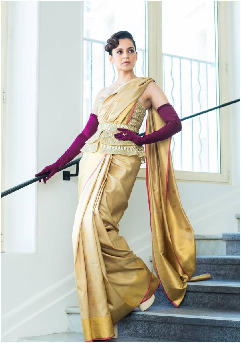 Kangana Cannes Saree with corset blouse