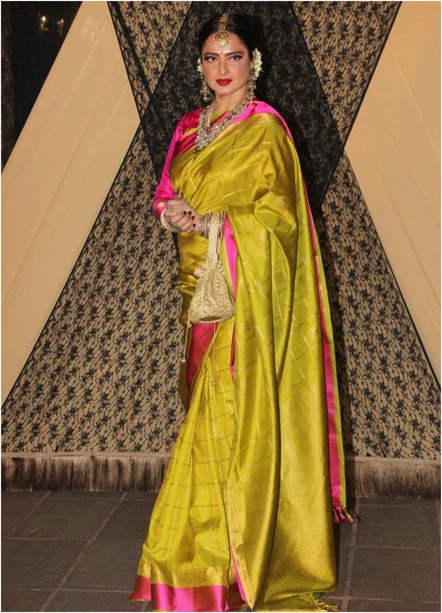 Rekha Mustard Kanjeevaram Saree style