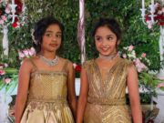 ariaana and viviana manchu in gold gowns