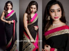 aarti ravi in black sabyasachi saree