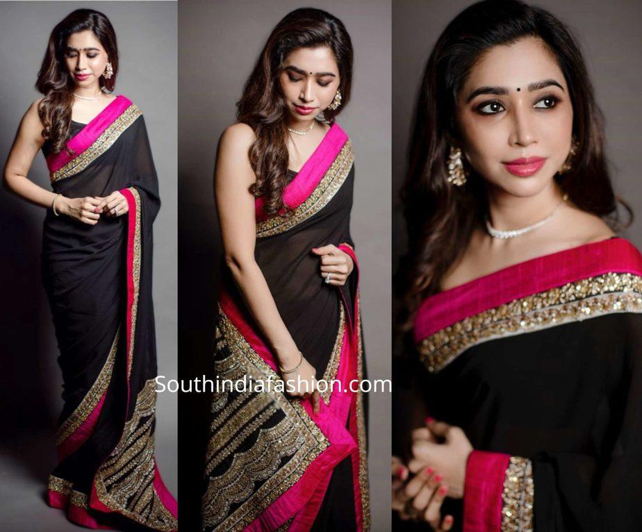 aarti ravi in black sabyasachi saree