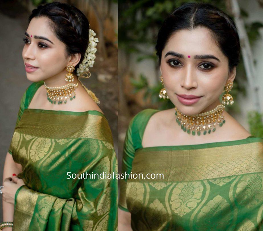 aarti ravi in green kanjeevaram saree (2)