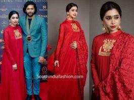 aarti ravi in red anarkali suit by masaba (3)