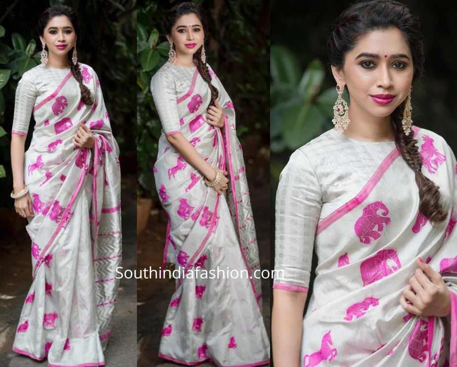 aarti ravi white silk saree