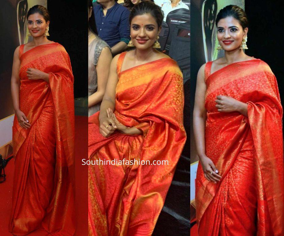 aishwarya rajesh in red kanjeevaram saree at filmfare awards south 2019
