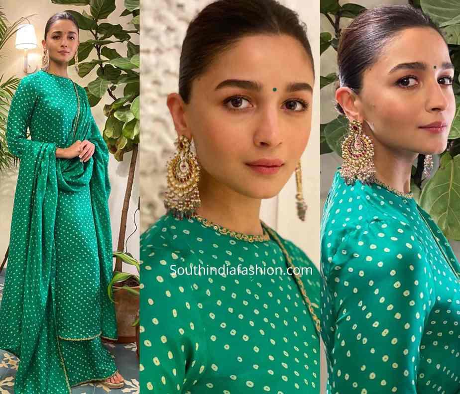 alia bhatt in sabyasachi green palazzo suit at a wedding reception (1)