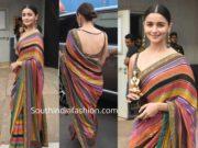 alia bhatt in striped sabyasachi saree at star screen awards 2019