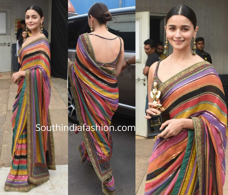 alia bhatt in striped sabyasachi saree at star screen awards 2019
