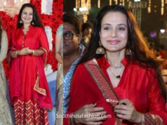 ameesha patel in red anarkali at a wedding (1)