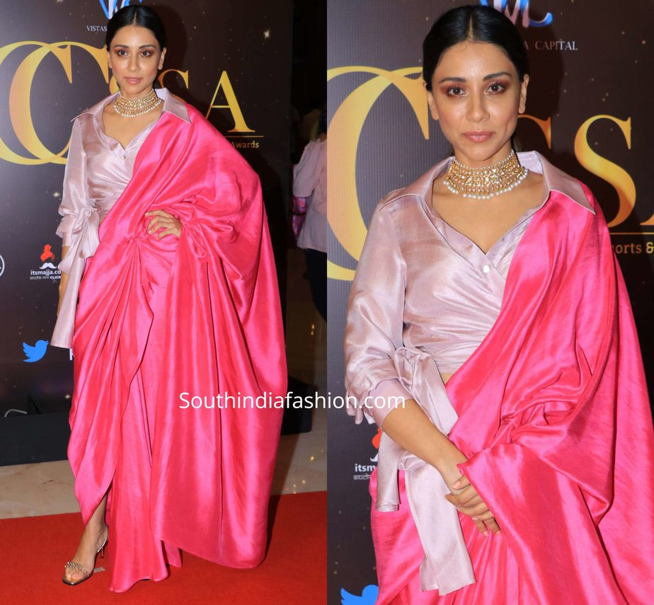 amrita puri in pink silk saree drape at at critics choice short series awards