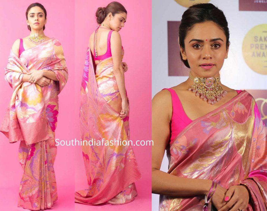 amruta khanvilkar pink banarasi silk saree