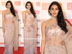 amyra dastur saree at lokmat awards