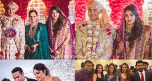 azharuddin son and sania mirza sister wedding reception photos