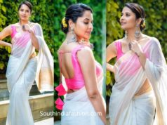 anasuya in cream color kota silk saree