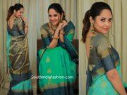 anasuya in green silk saree at a store launch