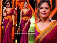 anchor anasuya traditional saree with corset