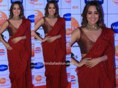 anitha hassanandani in maroon ruffle saree