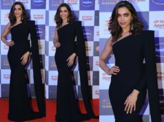 deepika padukone black gown at stra screen awards