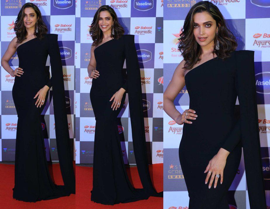 deepika padukone black gown at stra screen awards