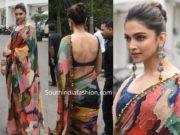 deepika padukone in multi color sabyasachi saree chhapaak promotions indian idol